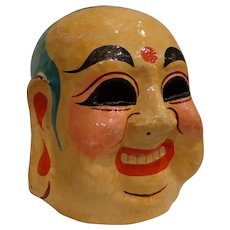 Vintage Chinese New Year Papier Mache Full Head Parade Mask God of Smiles Laughing Buddha