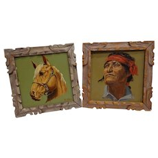 Rare Folk Art New Mexico Painted Tiles by Madolin Colby c. 1940s Navajo Indian & Horse Palomino