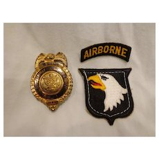 Rare WWII 101st Airborne Badge MP Police Battalion Military Major Rank