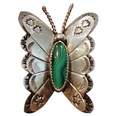 Vintage Navajo Sterling Butterfly Brooch Pin with Malachite Cabochon