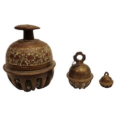 "Vintage Bronze & Brass ""Elephant Claw"" Bell Grouping from India Bells"