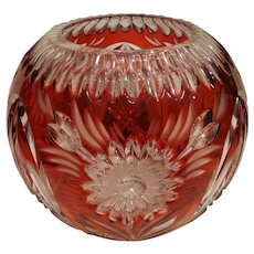 Fabulous Art Deco Vintage Cut to Clear Cranberry Glass Round Bowl Vase with Daisies Czech Bohemian
