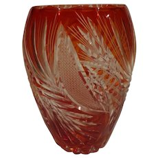 Magnificent Vintage 1930s Cranberry Glass Czech Bohemian Cut to Clear Vase Aesthetic
