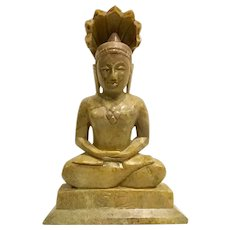 Large Vintage Chinese Sitting Buddha Carved Soapstone Buddhist