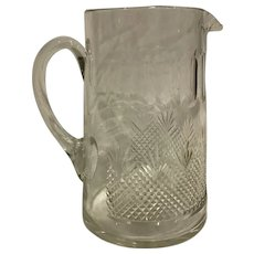 Fabulous Antique American Cut Crystal Water Pitcher Late Victorian Glass
