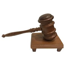 Vintage Quality Oak Speaker's Gavel with Stand USA Made Judge Law Political