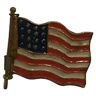 """Rare Antique Span Am War Patriotic Pin Locket American Flag Propaganda  """"To Hell with Spain Remember the Maine"""""""