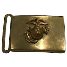 Rare c. 1950 USMC Brass Belt Buckle Japanese Production EGA US Marine Corps