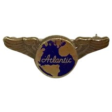 Vintage Sterling Atlantic Pilot Stewardess Lapel Pin Wings Aviation