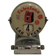 Vintage Fabulous Las Vegas Desk Calendar with Slot Machine, Dice & Card Graphics