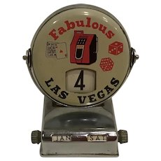 Vintage Fabulous Las Vegas Desk Calendar with Slot Machine, Dice & Card Graphics