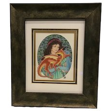 "Vintage Original Mary Hanson-Roberts ""Treasured Alliance"" Baby Dragon with Sorceress Wizard Tarot Card Artist"