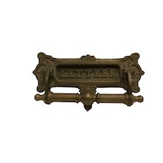 Antique Victorian Combination Door Knocker and Letters Slot Heavy Brass Architectural
