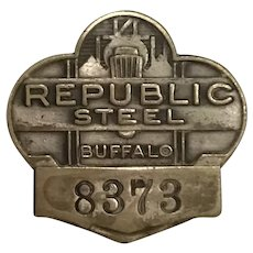 Vintage Republic Steel Buffalo New York Art Deco Employee Badge Numbered