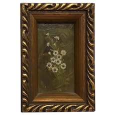 Vintage Miniature Oil Painting on Board by P. Graham Still Life  Flowers Dollhouse