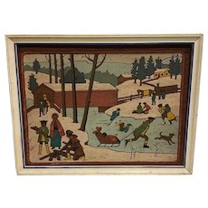Fabulous American School Black Americana Colonial Painting of Children & Families with Covered Bridge