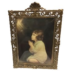 Vintage Ornate Convex Glass Child Praying Bronzed Metal Wall Framed Lithograph c. 1920 Italy