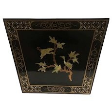 Vintage Pre War Black Enamel Chinese Planter with Mother of Pearl Inlays Cranes