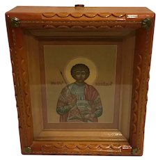 Fabulous Quality Vintage Russian Icon Saint Demetrius Hand Painted in Shadowbox
