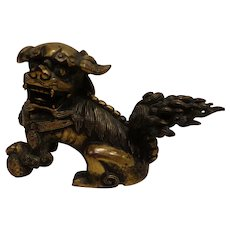 Magnificent Antique Chinese Mid 19th Century Gilded Bronze Foo Dog