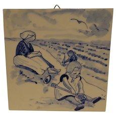 Vintage Delft Art Tile Blue & White Handpainted Beach Scene Mother with Children Dutch
