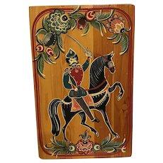 Vintage Russian Hand Painted Enamel Wooden Bread / Cutting Board Cavalry Theme Folk Art