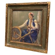 Original Oil Painting with Provenance by Maurice Greenberg (1893-1996) Jewish Woman with Spinning Wheel