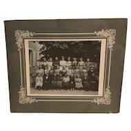 Rare Large Antique Cabinet Photo of School Girls Including Dwarf European