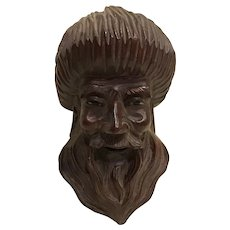 Vintage Signed Chinese Carved Immortal Figural Head Republic Period Wooden with Glass Eyes and Teeth