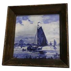 Vintage Blue & White Delft Tile Framed Sailboat