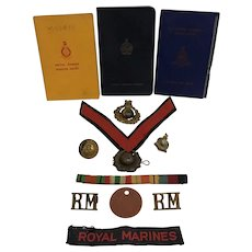 WWII Royal Marines Grouping England with Insignia and Dog Tag