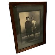 Darling Antique Cabinet Photo of Wealthy Little Boy and His Dog Wearing Glasses and Hat