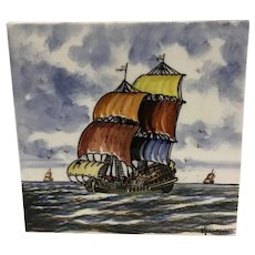 Vintage Delft Tile Hand Painted in Holland Nautical Ship
