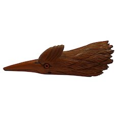 Important Victorian Carved Figural Black Forest Woodpecker Wooden Desk Clip Treen Wood