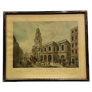 Rare Antique 1788 Stipple Engraving of London Exchange by Chapman Loutherbourg & Bartolozzi
