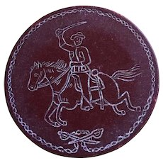 Antique Teddy Roosevelt rough riders clay poker chip Spanish American war