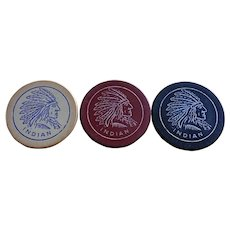 Antique Indian chief clay poker chips set of 3 American