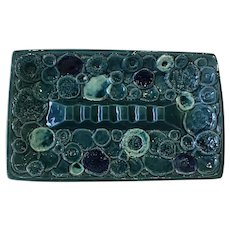 Fabulous Retro ashtray with groovy majolica turquoise glaze