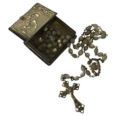 Antique art nouveau sterling rosary with angel box mother of pearl beads