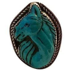 Vintage Sterling Horse Ring Turquoise by Francisco Gomez Western Cowboy