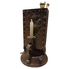 Rare Antique Arts & Crafts Era Viking Tin & Bronze Cigar Store / Lodge Lighter Match Holder Candle Centerpiece