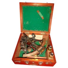 Antique c. 1890s Sextant Nautical Navigation Liverpool Maker San Francisco Distributor Victorian Ship's Tool