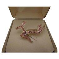 Gorgeous Ladies' High Heel Pump Shoe Pin Brooch Pink Rhinestone