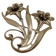 Beautiful Jewelart Sterling Brooch Pin Aesthetic Mid Century Design Lilies