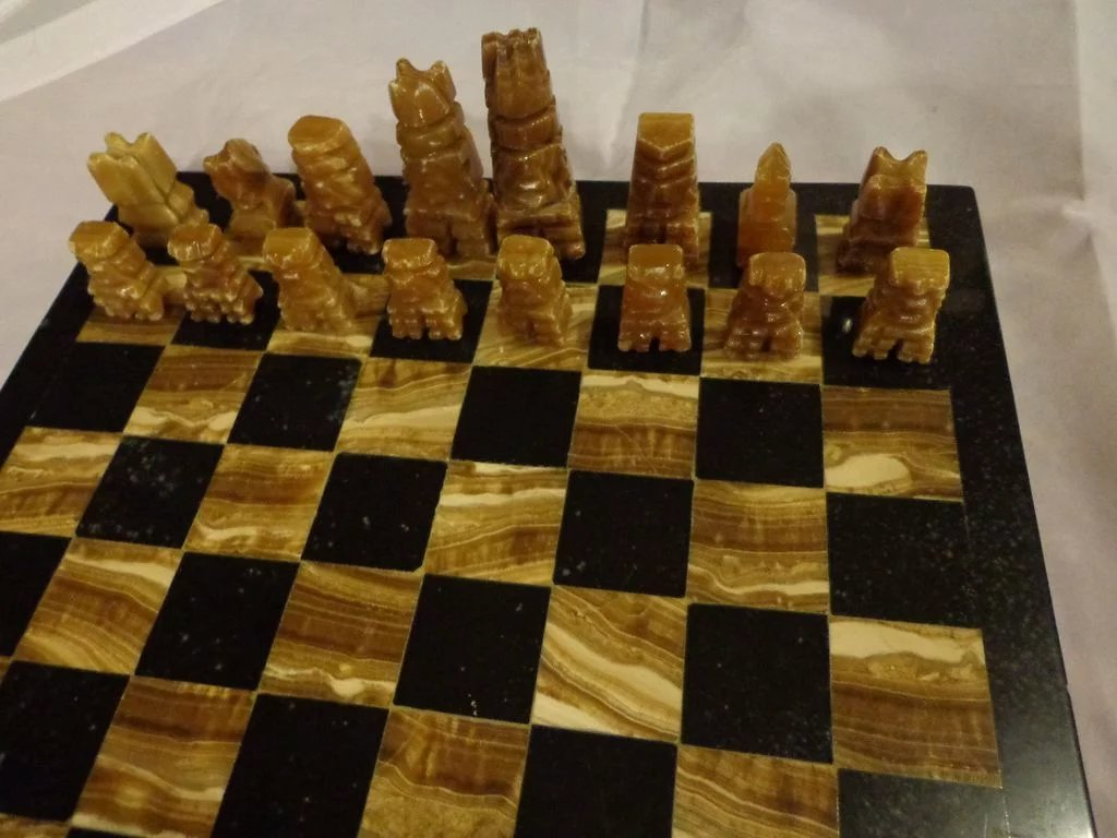 Vintage Hand Carved Marble Amp Onyx Chess Set Game Board