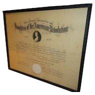 Antique 1902 DAR Certificate Daughters of the American Revolution Massachusetts