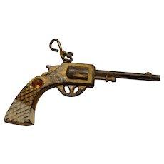 Vintage Miniature Pistol Fob w/ Jewel .38 Revolver Novelty Police