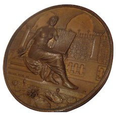Rare Antique Photography Bronze Medal from India Art Nouveau - Named English Winner Camera Award