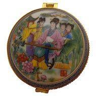 Gorgeous Vintage Chinese Porcelain Dresser Box Musician Colorful Asian Trinket Pin