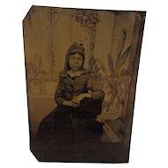 Victorian Tintype Pretty Little Girl in Bonnet Working Class